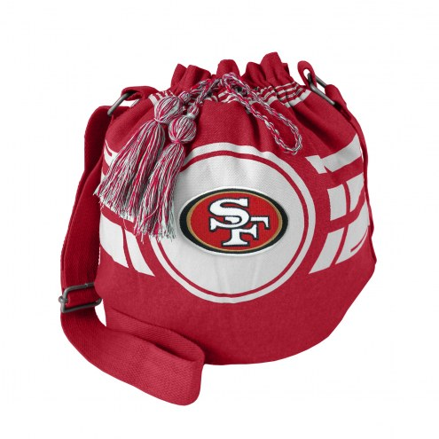 San Francisco 49ers Dark Red Ripple Drawstring Bucket Bag