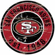 San Francisco 49ers Distressed Round Sign