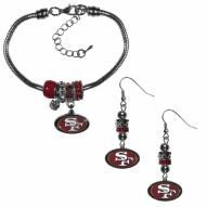 San Francisco 49ers Euro Bead Earrings & Bracelet Set