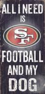 San Francisco 49ers Football & Dog Wood Sign