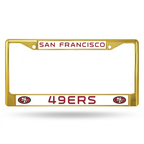 San Francisco 49ers Gold Colored Chrome License Plate Frame
