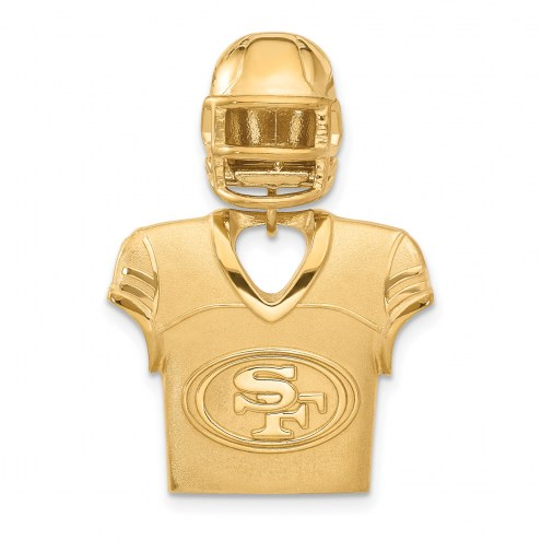 San Francisco 49ers Gold Plated Jersey & Helmet Pendant
