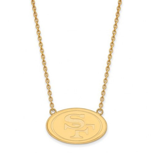 San Francisco 49ers Sterling Silver Gold Plated Large Pendant with Necklace