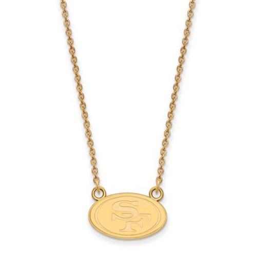 San Francisco 49ers Sterling Silver Gold Plated Small Pendant with Necklace