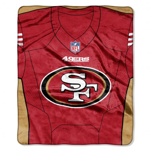 San Francisco 49ers Jersey Raschel Throw Blanket
