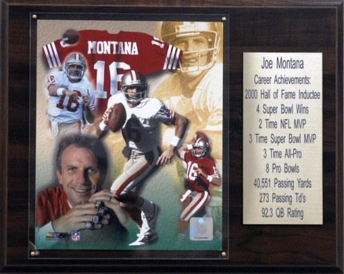 """San Francisco 49ers Joe Montana 12"""" x 15"""" Career Stat Plaque"""