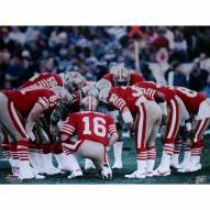 "San Francisco 49ers Joe Montana Huddle w/ Three Inscriptions Signed 16"" x 20"" Photo"