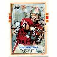 San Francisco 49ers Joe Montana Signed 1989 Topps Card w/ 4-0 in SB 11 TDs - 0 Ints Perfect