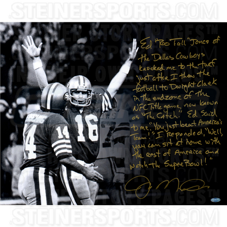 "San Francisco 49ers Joe Montana The Catch Story Signed 16"" x 20"" Photo"
