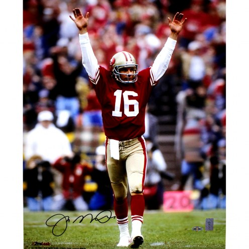 """San Francisco 49ers Joe Montana Touchdown Signal Signed In Black Signed 16"""" x 20"""" Photo"""