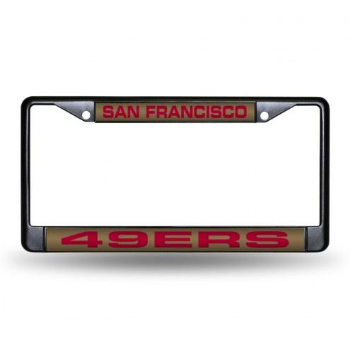 San Francisco 49ers Laser Black License Plate Frame
