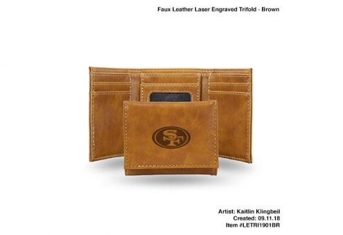 San Francisco 49ers Laser Engraved Brown Trifold Wallet
