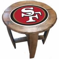 San Francisco 49ers Oak Barrel Table