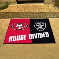 San Francisco 49ers/Las Vegas Raiders House Divided Mat