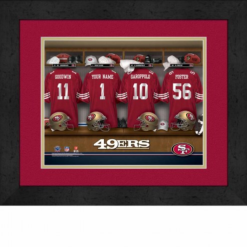 San Francisco 49ers Personalized Locker Room 13 x 16 Framed Photograph