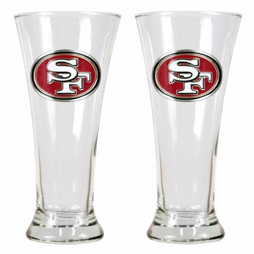 San Francisco 49ers Premiere Pilsner Glass Set