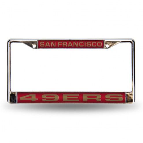 San Francisco 49ers Red Laser Chrome License Plate Frame