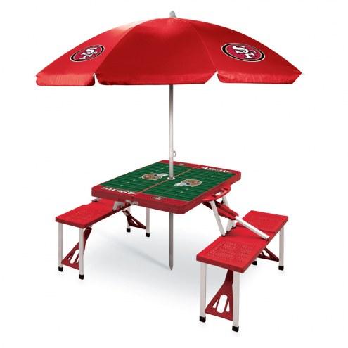San Francisco 49ers Red Picnic Table w/Umbrella