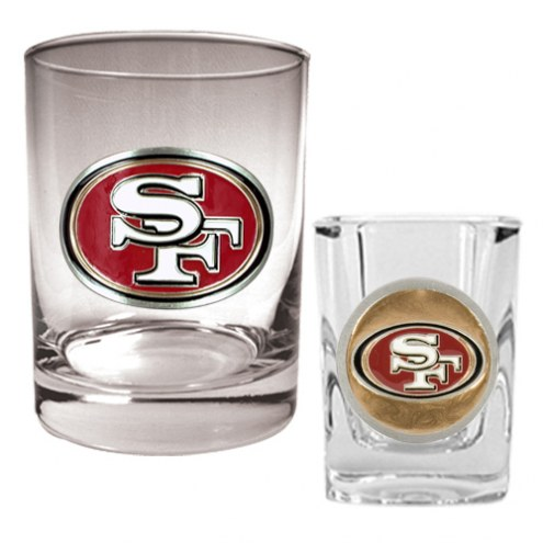 San Francisco 49ers Rocks Glass & Shot Glass Set