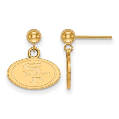 San Francisco 49ers Sterling Silver Gold Plated Dangle Ball Earrings
