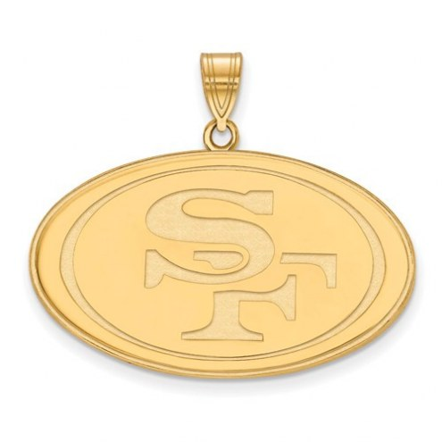 San Francisco 49ers Sterling Silver Gold Plated Extra Large Pendant