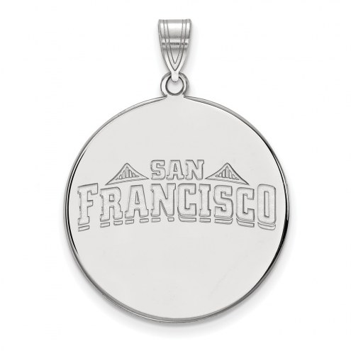 San Francisco Dons Sterling Silver Extra Large Disc Pendant