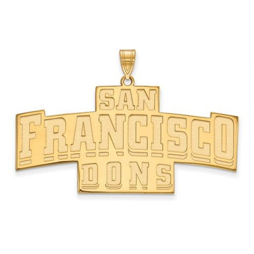 San Francisco Dons Sterling Silver Gold Plated Extra Large Enameled Pendant
