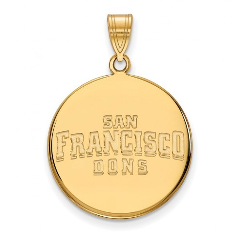San Francisco Dons NCAA Sterling Silver Gold Plated Large Disc Pendant