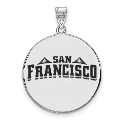 San Francisco Dons Sterling Silver Extra Large Enameled Disc Pendant