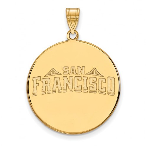 San Francisco Dons Sterling Silver Gold Plated Extra Large Disc Pendant