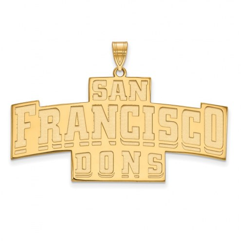 San Francisco Dons Sterling Silver Gold Plated Extra Large Pendant