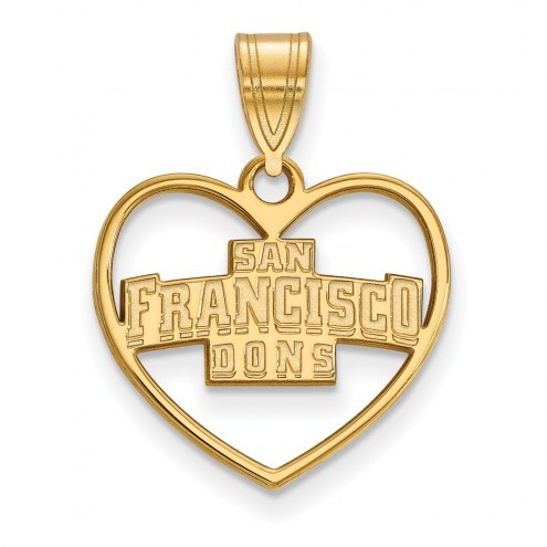San Francisco Dons Sterling Silver Gold Plated Heart Pendant
