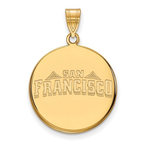 San Francisco Dons Sterling Silver Gold Plated Large Disc Pendant