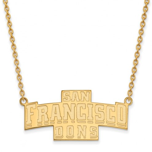 San Francisco Dons Sterling Silver Gold Plated Large Pendant Necklace