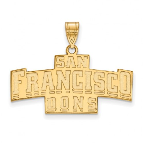 San Francisco Dons Sterling Silver Gold Plated Medium Pendant