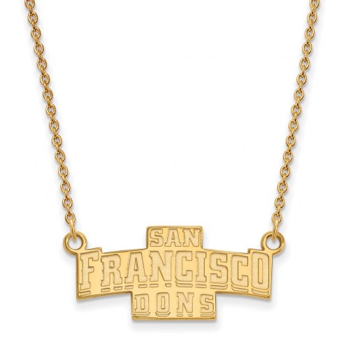 San Francisco Dons Sterling Silver Gold Plated Small Pendant Necklace