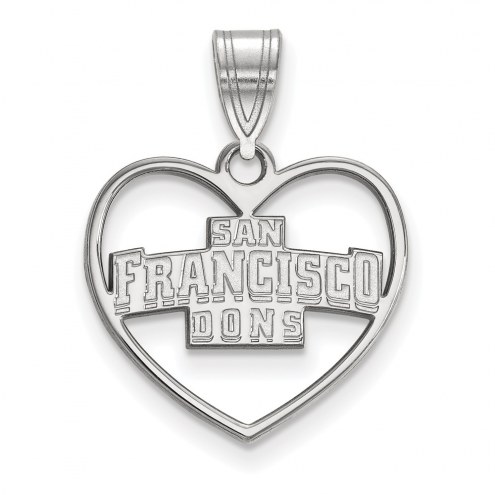 San Francisco Dons Sterling Silver Heart Pendant