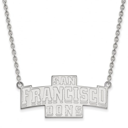 San Francisco Dons Sterling Silver Large Enameled Pendant Necklace