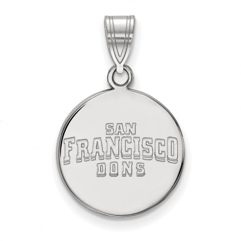 San Francisco Dons Sterling Silver Medium Disc Pendant