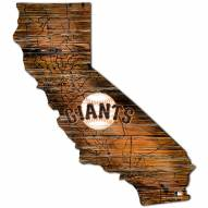 San Francisco Giants Distressed State with Logo Sign