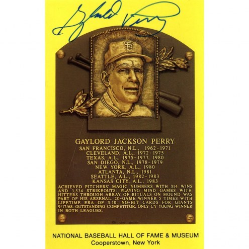 San Francisco Giants Gaylord Perry Signed Hall of Fame Plaque Postcard