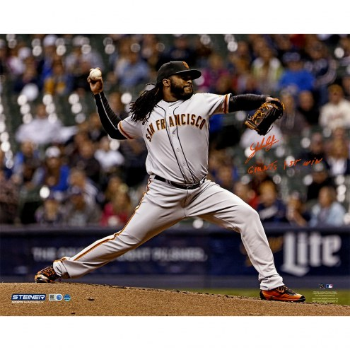 """San Francisco Giants Johnny Cueto Pitching w/ """"Giants 1st Win"""" (Signed in Orange) Signed 16"""" x 20"""" Photo"""