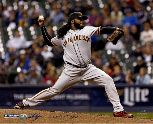 """San Francisco Giants Johnny Cueto Pitching w/ """"Giants 1st Win"""" Signed 16"""" x 20"""" Photo"""