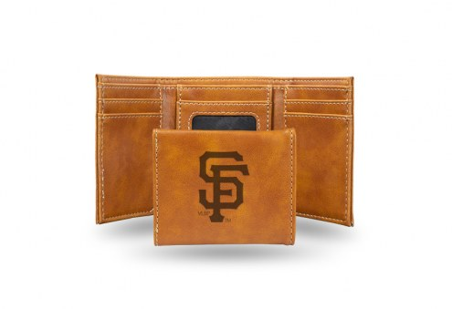 San Francisco Giants Laser Engraved Brown Trifold Wallet