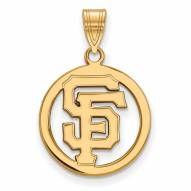 San Francisco Giants Sterling Silver Gold Plated Medium Pendant
