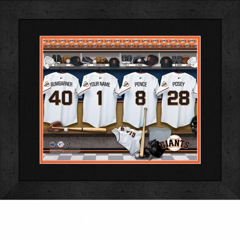 San Francisco Giants Personalized Locker Room 13 x 16 Framed Photograph