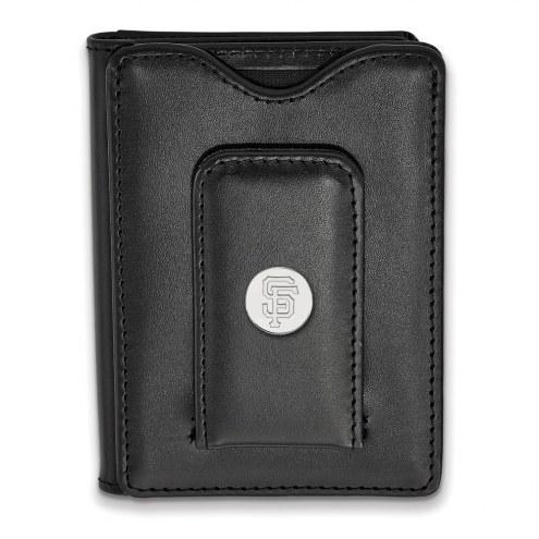 San Francisco Giants Sterling Silver Black Leather Wallet