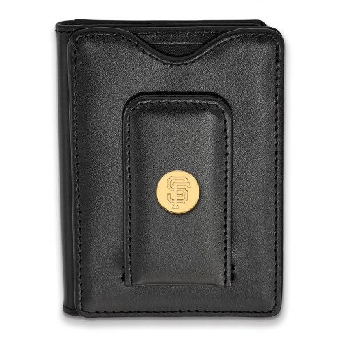 San Francisco Giants Sterling Silver Gold Plated Black Leather Wallet