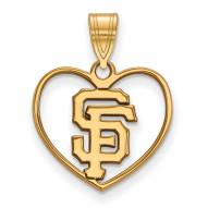 San Francisco Giants Sterling Silver Gold Plated Heart Pendant