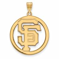 San Francisco Giants Sterling Silver Gold Plated Large Circle Pendant